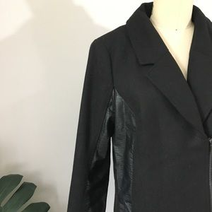 Divided Leather Detail Wool Jacket